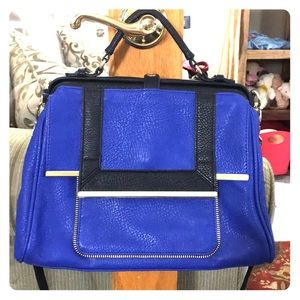 Olivia + Joy blue black gold satchel crossbody euc